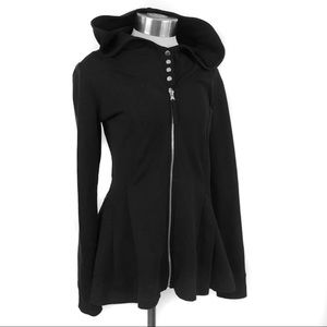 Lucy black ruffle zip up peplum hoodie sweater